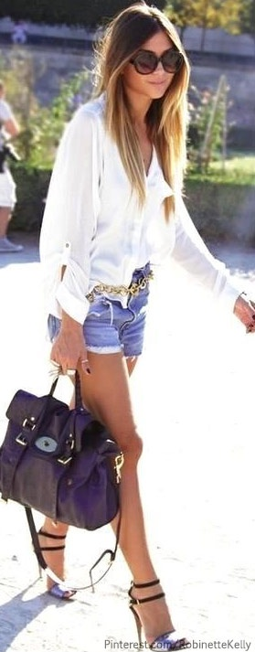 Nothing beats a crisp white shirt and denim cut offs in summer. #ChillinGrillin