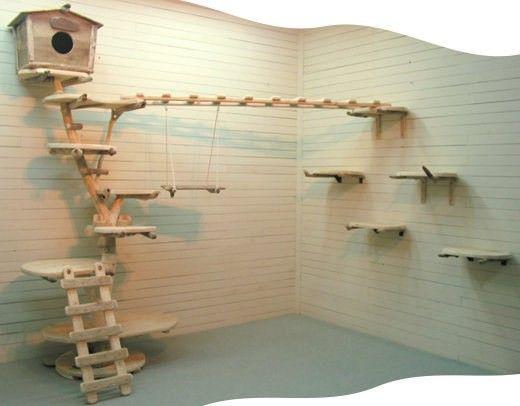 オリジナルツリーハウスな大型流木キャットタワー(壁面登り棚・大型スカイウォーク付き)[pk18]