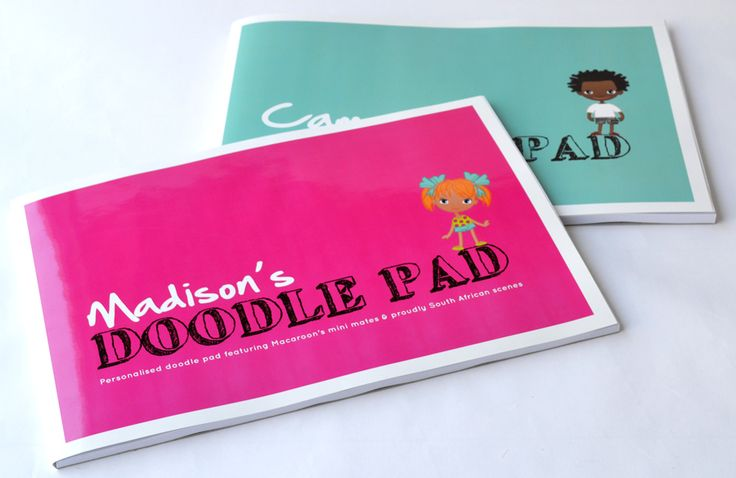 Personalised Doodle pads  featuring Macaroon's trademark Mini Macaroon mates and hand illustrated South African icons. Perfect gifts for kids who love to colour in! www.macaroon.co