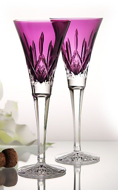 Waterford Lismore Amethyst Toasting Flutes