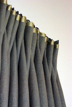 Olive green silk trim is the perfect detail for this custom drape
