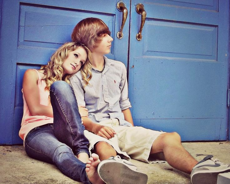 Young Love... Back to school picture for teen couple!