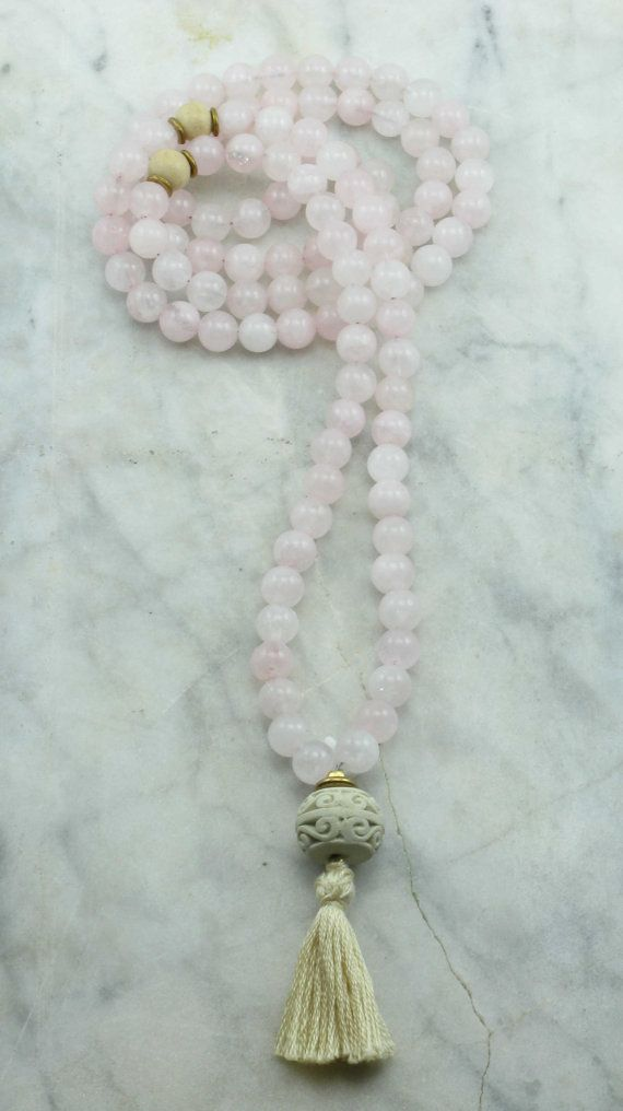 Rose Mala Necklace  Rose Quartz Mala Beads and by SaltSpringMalas