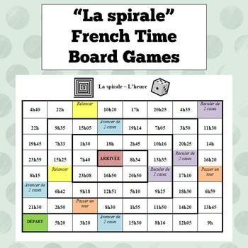 Two board games for practicing saying the time in French - one with the times on a 24-hour clock, and one with the times on a 12-hour clock. Includes a list of useful expressions to keep students speaking French throughout the entire game!