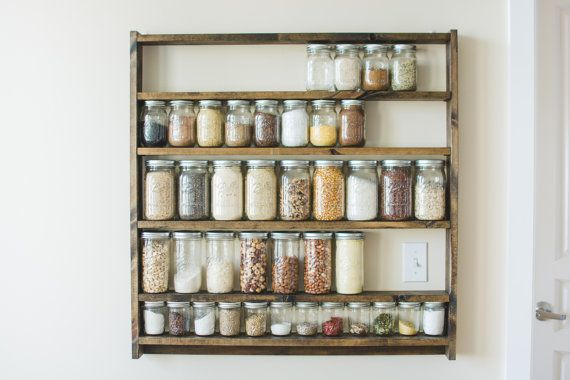 Mason Jar Pantry Shelf Organizer, Kitchen Storage Shelves for Whole Food Ingredients