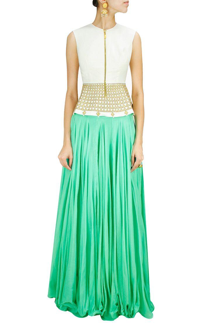 Off white zari and stone embroidered peplum top BY HARSHITAA CHATTERJEE DESHPANDE. Shop now at: www.perniaspopups... #perniaspopupshop #designer #stunning #fashion #style #beautiful #happyshopping #love #updates