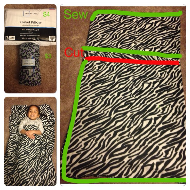 $7 Preschool Nap Mat! Fold blanket in half, cut top half along red line, sew along green line, insert pillow!!  Easy and washable!!