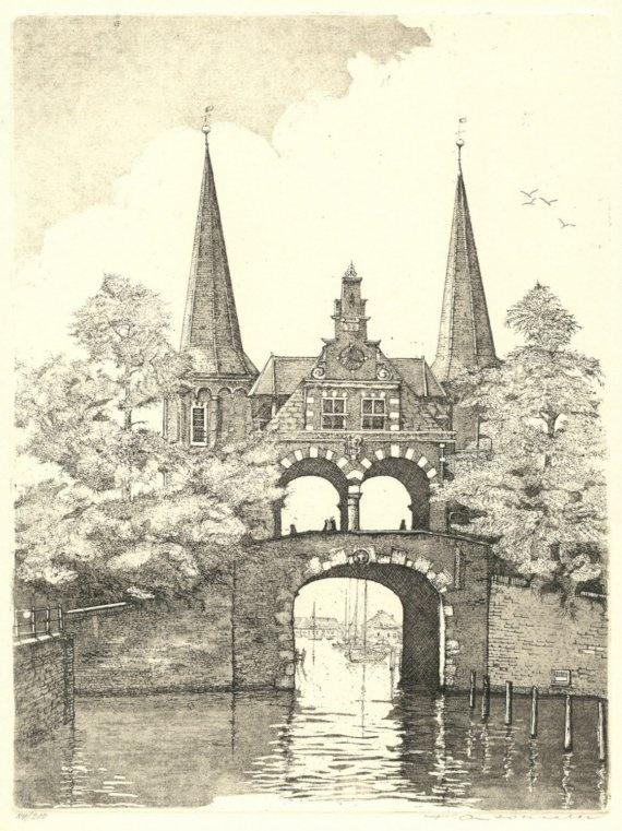 Francesco Antonietti, etching of the historical town of Sneek, Holland.