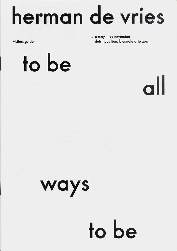 Herman de Vries, to be all ways to be, Exhibition catalogue at Dutch #LogoCore