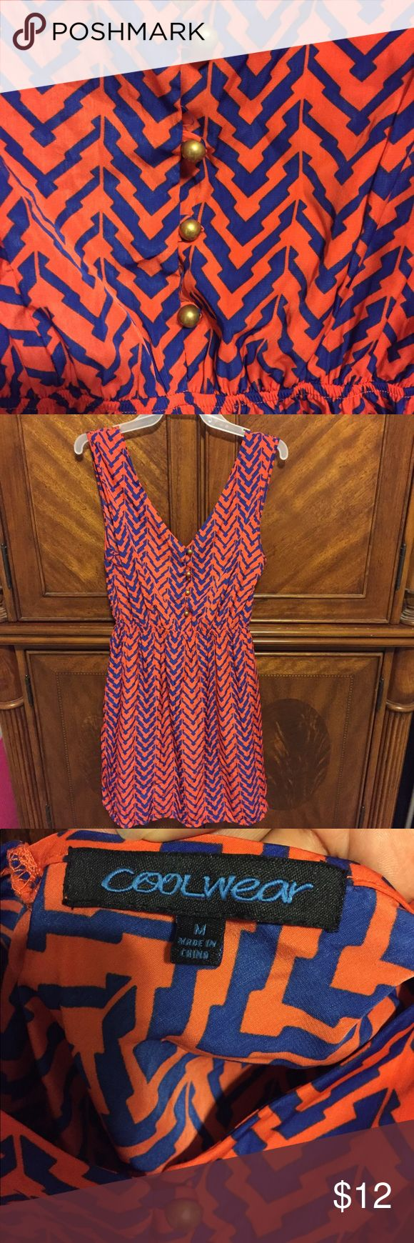 Coolwear Summer Dress size Medium Like new lightweight dress has a plunging neckline and blue and orange chevron design, brass buttons down the front. Elastic waistband. Coolwear Dresses Midi