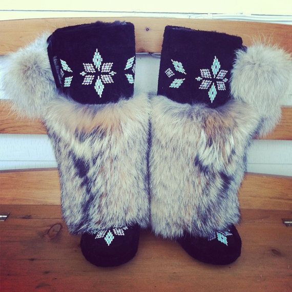 Custom Beaded Mukluks: Coyote Fur & Bisonhide. NorthernLightsMukluks