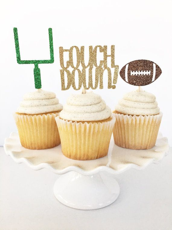 Football Cupcake Toppers / Football Party by PopOfSparkle on Etsy