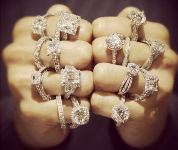 Two Lucky Hands Full Of Tacori Engagement Rings. Via