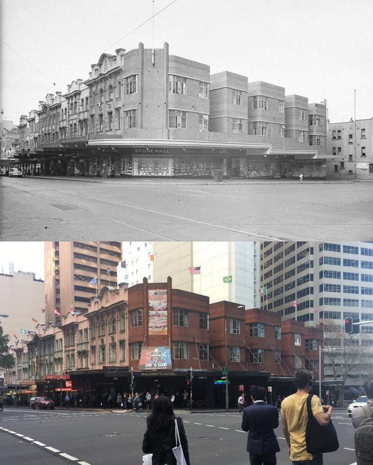 Stonewall Jackson stores at the cnr of Pitt & Goulburn Streets, Sydney 1944 >2017 now Maloney's hotel. [State Library of NSW > Phil Harvey. By Phil Harvey]
