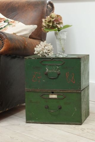 """""""Old file boxes make a fabulous side table."""" Agreed."""
