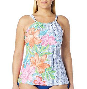 Beach House® Plus Size Blair High Neck Tankini Top
