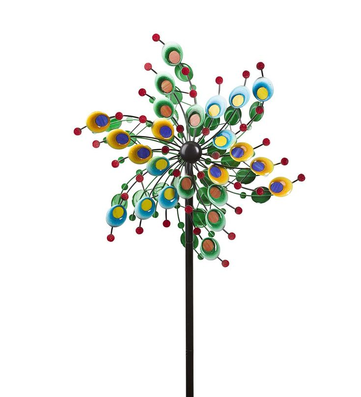 Metal And Glass Confetti Spinner In Wind Spinners