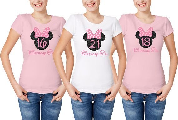Customized Disney inspired Ladies Birthday Girl t-shirt with glitter Minnie Mouse head and birthday number.