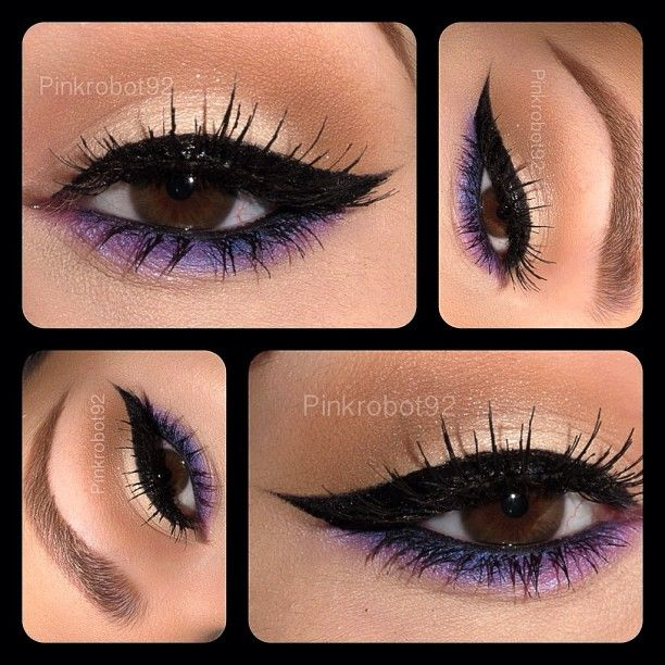 Neutral with purple and winged liner #eye #makeup #vibrant #smokey #bold