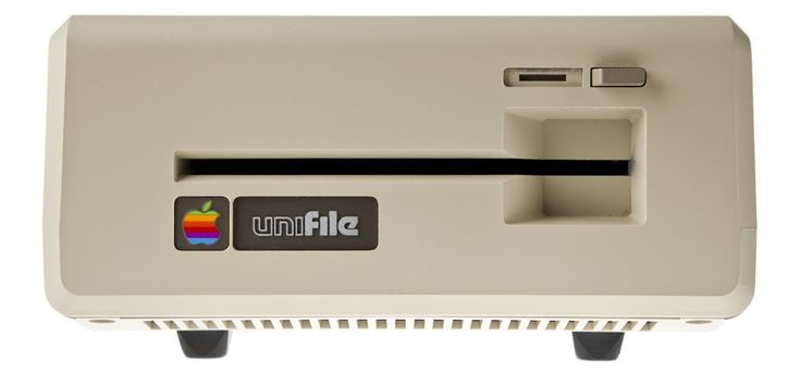 "Created in 1983, the Unifile Twiggy floppy drive was a double-sided drive that had heads on opposite sides of the spindle instead of opposing each other as conventional drives did.  It also used unconventional floppy media, named ""FileWare"", with two cutouts instead of one. Fileware Twiggy Disks offered the unheard of capacity of over 800k and the Unifile was announced by Apple but was never shipped before the program was canceled.  They were intended to be for the Apple II and Apple III…"