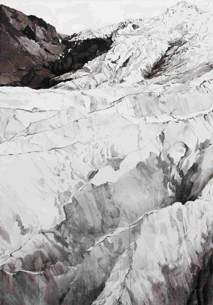 Emma Stibbon, Falljokull glacier (Vatnajokull), 2013, ink and mica on paper, 184x130cm