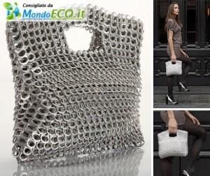 borsa realizzata con linguette di lattine