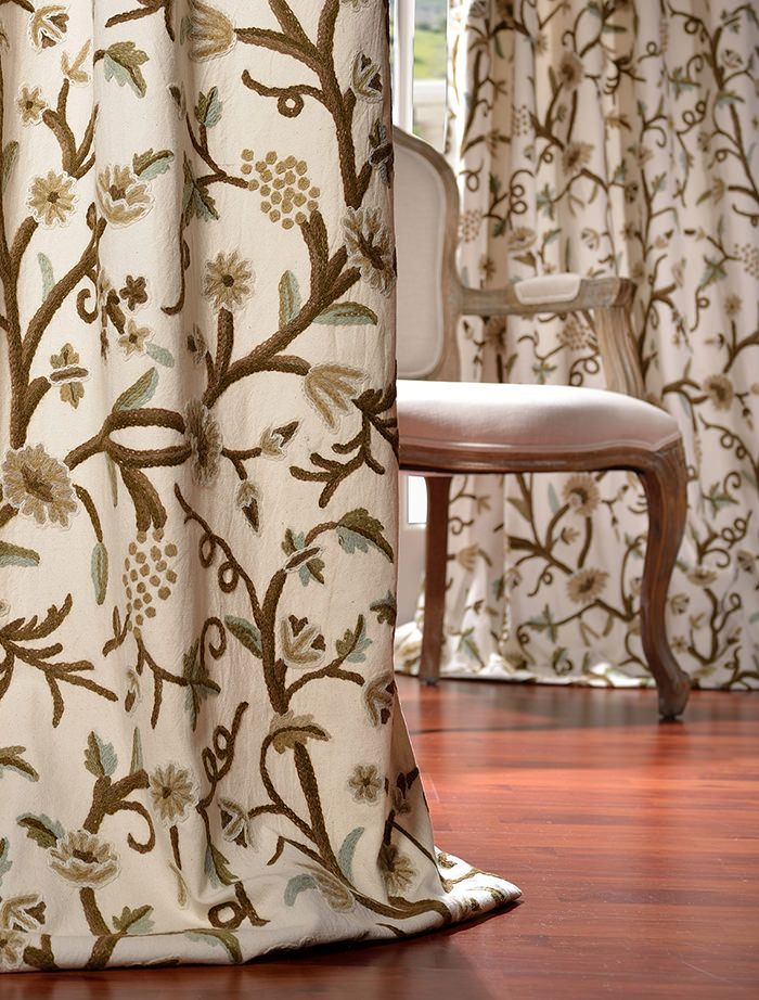 16 best Crewel Embroidered Curtains images on Pinterest Curtains