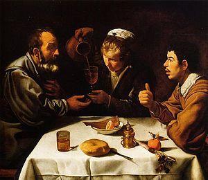 ca 1618. Velázquez. Almuerzo de campesinos. The farmers' lunch.