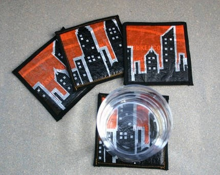 Fused Plastic Coasters Made from fused plastic bags