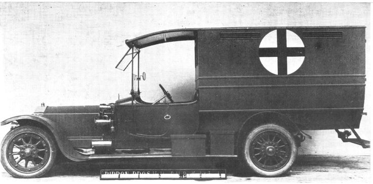 An early Silver Ghost chassis with a Rippon Bros of Huddersfield ambulance body, typical of so many which were donated and served in the First World War.