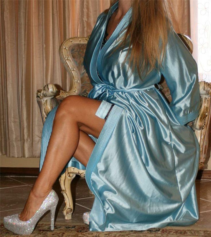 Blue Satin Robe Sheer Shimmer Pantyhose and Silver High Heels