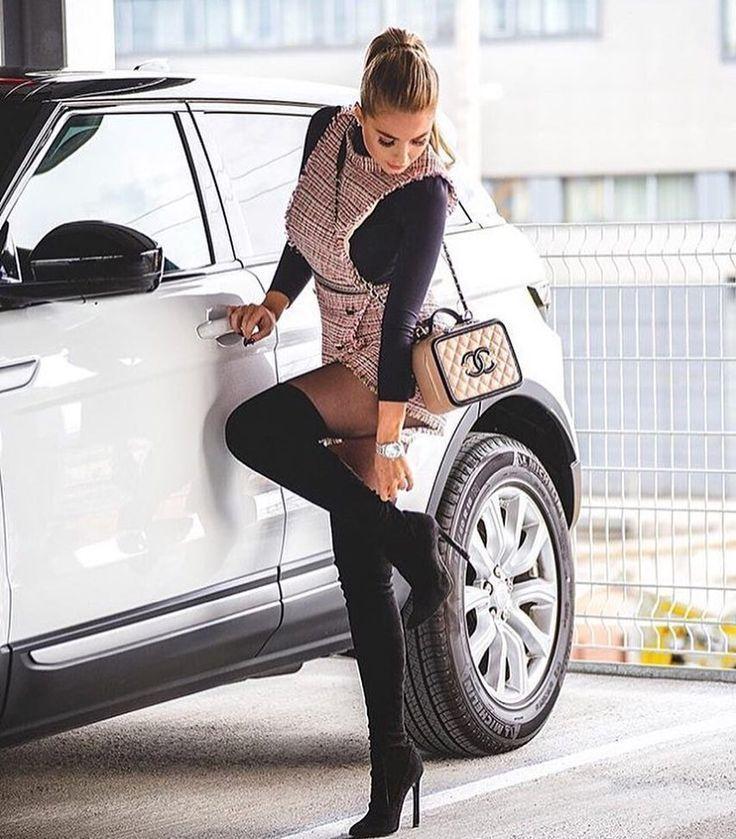 Frauen Lady Car Oberschenkel Hohe Stiefel Schwarz Tragen Reissverschluss Car Carsforwomen Fashion Thigh High Boots Lady
