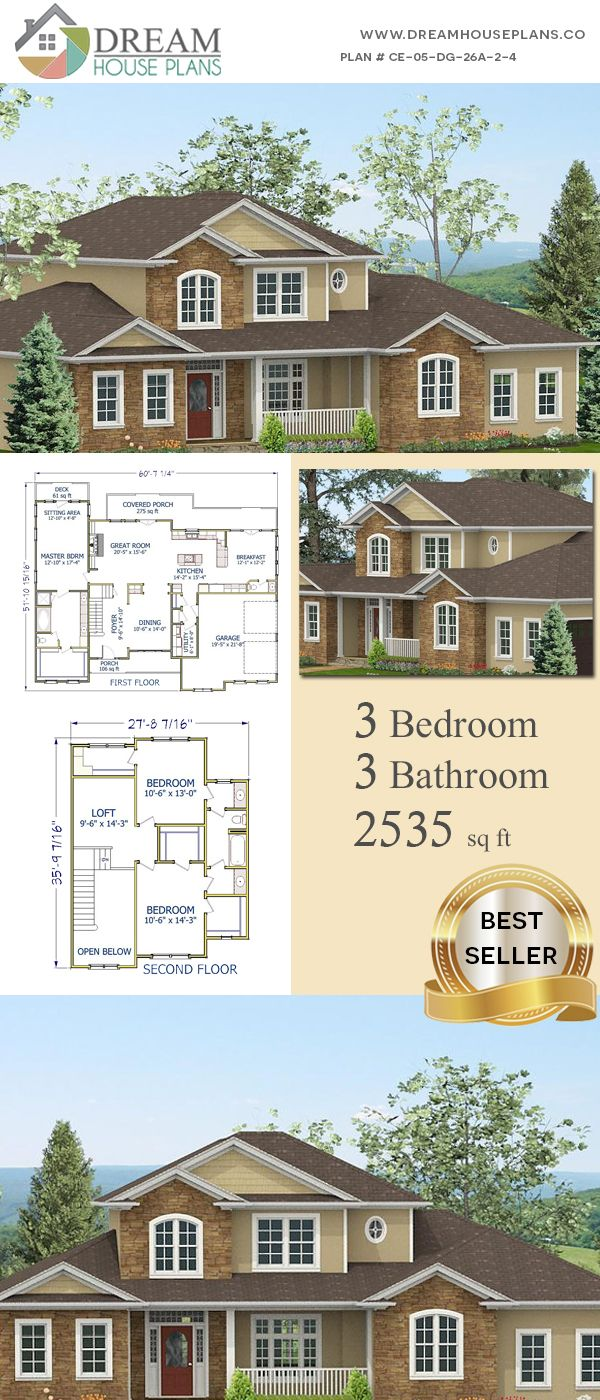 Dream House Plans: Unique Custom Luxury 3 Bedroom, 2535 Sq. Ft. House Plan  With Porches. Shop Our Exclusive Collection Of Small, Large, Simple And  Luxury ...
