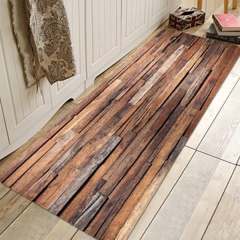 Wood Grain Absorbent Non-slip Floor Mat for Living Room Bathroom Kitchen