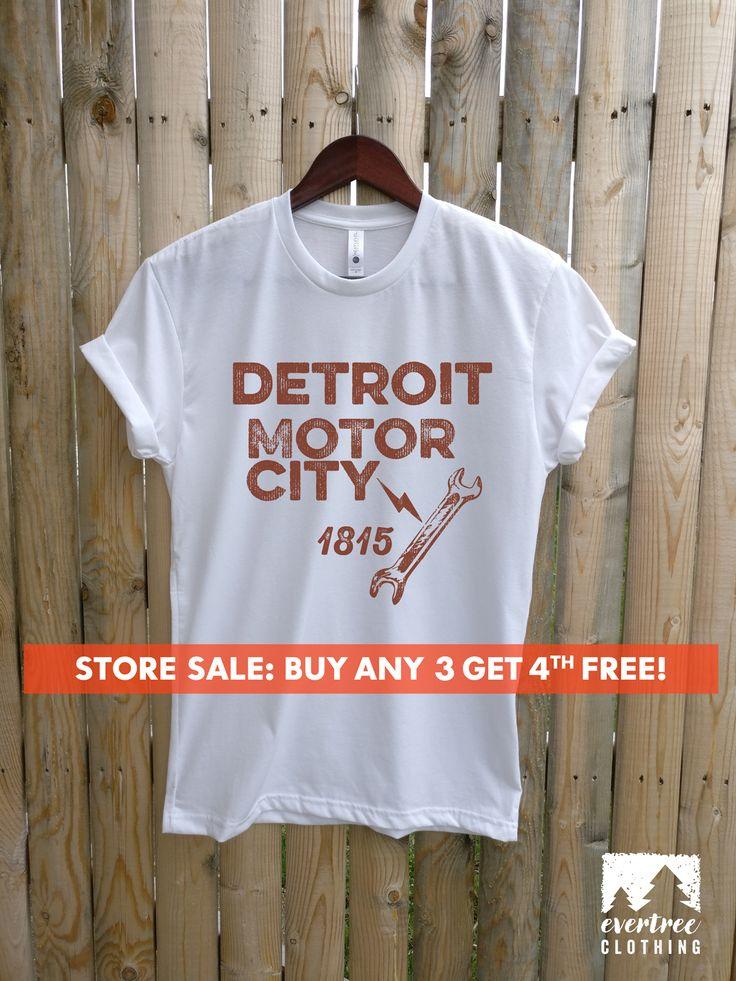 Detroit Motor City T-shirt, Ladies Unisex Crewneck Shirt, Detroit Shirt, American Vintage Car T-shirt