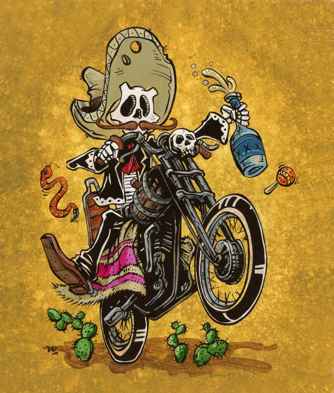 The moto-loving mariachi rips through the desert on his custom ride, braking only for a refill of his favorite tequila....