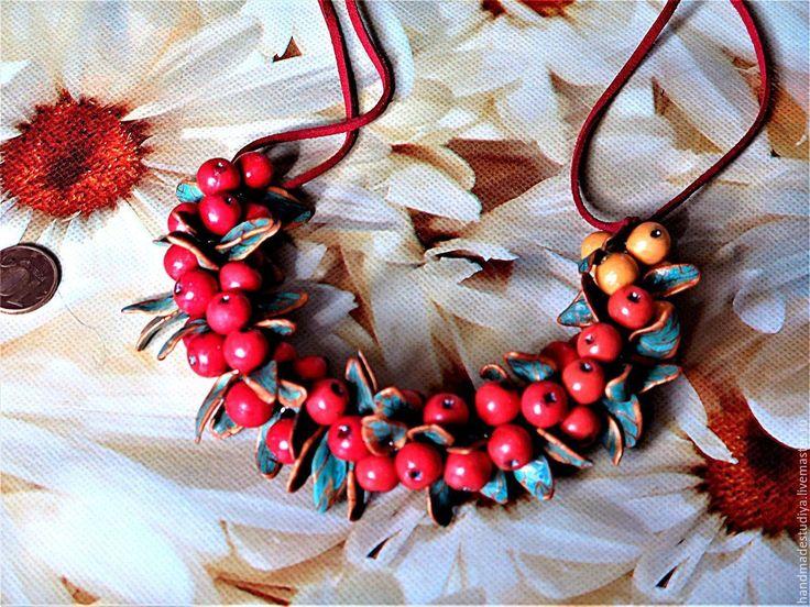 Купить Колье Рябина - комбинированный, колье, украшение, украшение на шею, Украшение ручной работы, Бижутерия