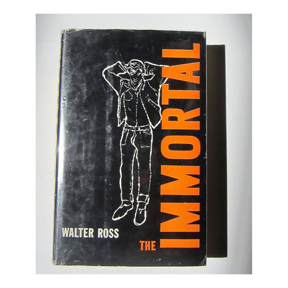 """Illustrator: Andy Warhol  Title: The Immortal  Author: Walter Ross  Date: 1958 Size: 5 1/4 x 8 1/4""""    Notes: Minor wear to corners and spine. Some marks. Overall, outstanding shape.    The fictional accounts of James Dean-esque character, Johnny Preston. Cover features a fantastic minimalist Warhol illustration (blotted ink style). Dust jacket comes in an archival Brodart protective covering."""