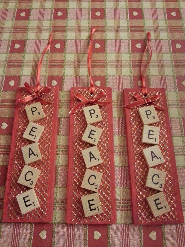 Dec 2014 gift - Peace Tree Decoration using scrabble tiles
