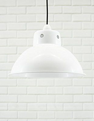 Funky Cafe Style Retro Ceiling Light Pendant Metal Shade, Modern Industrial Vintage Look, 300mm Diameter (Gloss White / White Inside): Amazon.co.uk: Kitchen & Home