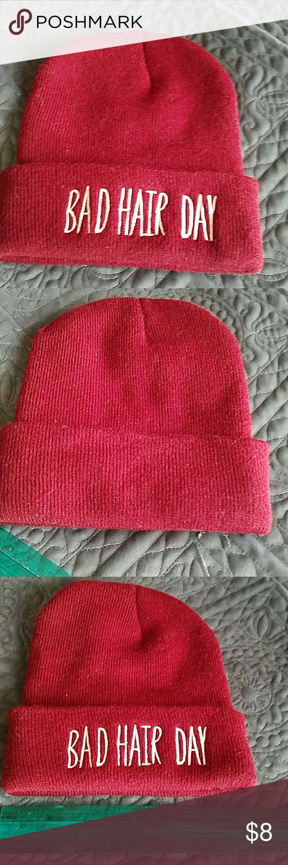 Bad Hair Day cap New without tags.  Burgandy color.  White lettering.  Tried on but never worn. Accessories Hats
