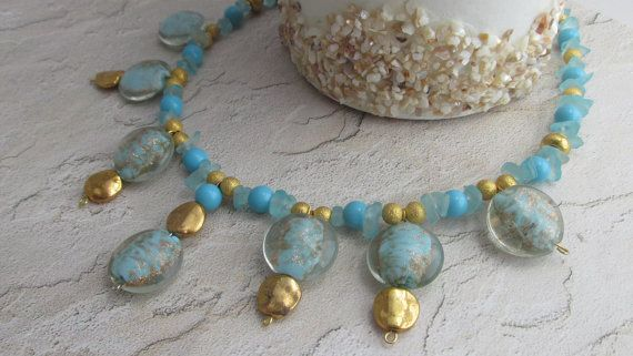 Unique Sea blue and Turquoise Gold Beaded by MistyMadeGifts, $24.99