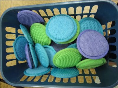Beg Borrow Steal posted this crazy cool idea:) tiny facial scrub pads for kids to use on their mini dry era e boards at their seat! Get a class set in put one into each chair bag!
