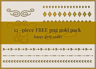 12 FREE png golden elements for your designs!