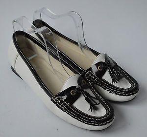 a senoras van dal blanco y negro cuero mocasin zapatos de salon size uk 55