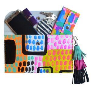 La bolsa de cuero del arte abstracto pintado embrague, cuero de la borla del monedero, neón Bolsa - Boo Boo y Fábrica - joyería…