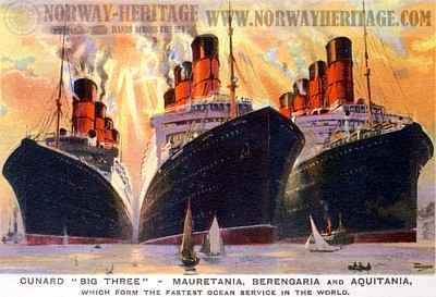 The Big Three, Cunard Line steamships Mauretania, Berengaria and Aquitania