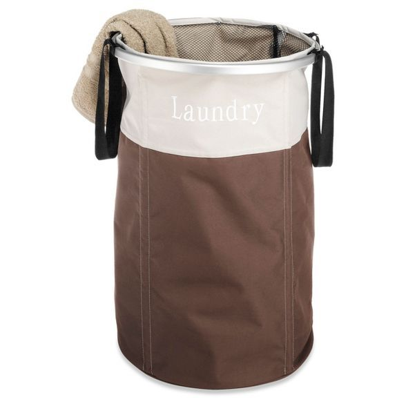 Whitmor Easycare Round Laundry Hamper Java Laundry Hamper