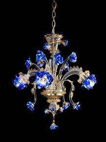 Crystal chandelier with gold and blue paste