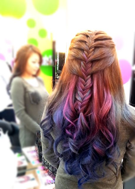 half-up Mermaid braid (A strand of outlying hair is added not to each loop but every few bumps)